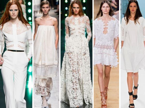 ubrania z białej koronki