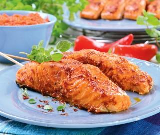 Potrawy z grilla: Łosoś z ajwarem