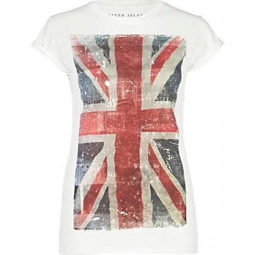 T-shirt  z flagą Wielkiej Brytanii, River Island