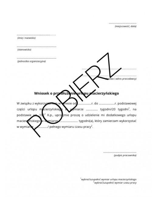 Wniosek O Przedłużenie Urlopu Macierzyńskiego Wzór Do Pobrania