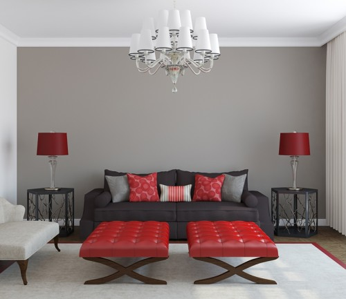 salon, pokój, dom, aranżacje, czerwony