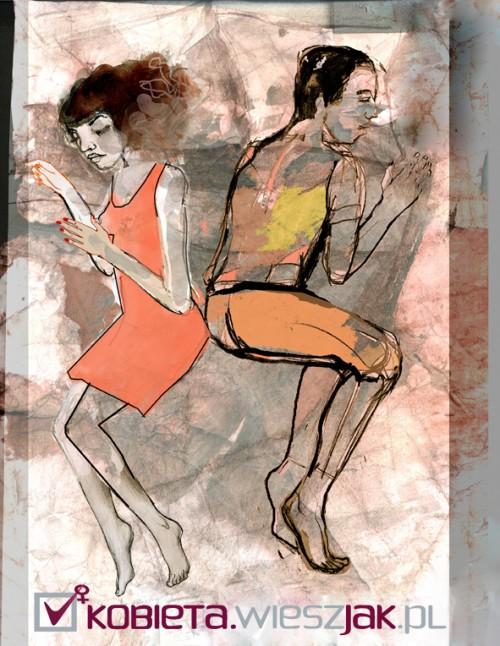 Pozycje par podczas snu, ilustracja: Paulina Maksjan