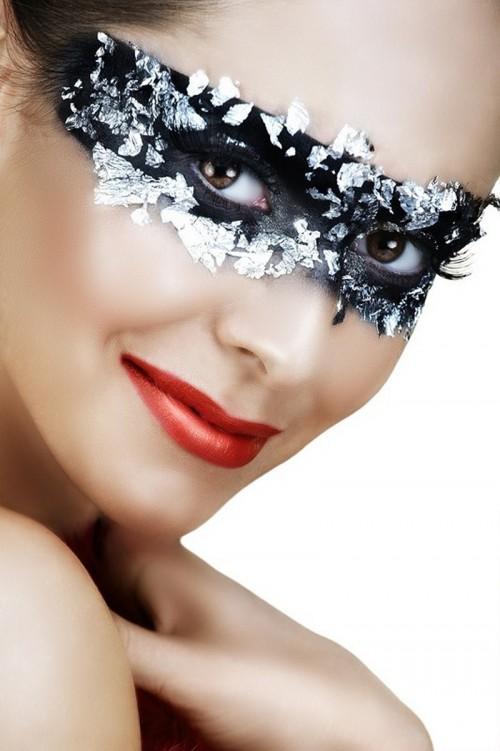kobieta, makijaż, twarz