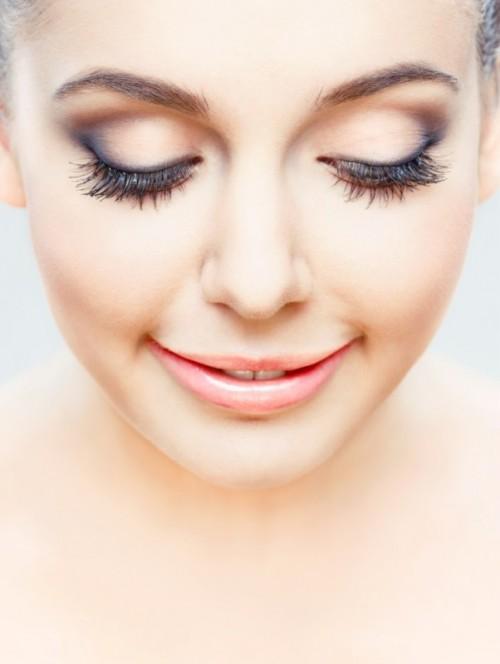 makijaż, kobieta, twarz, uśmiech