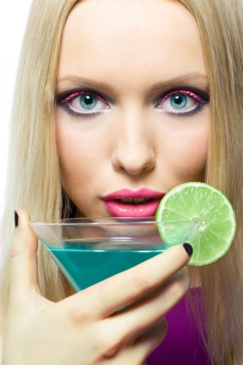 makijaż, drink, kobieta, mięta, turkus
