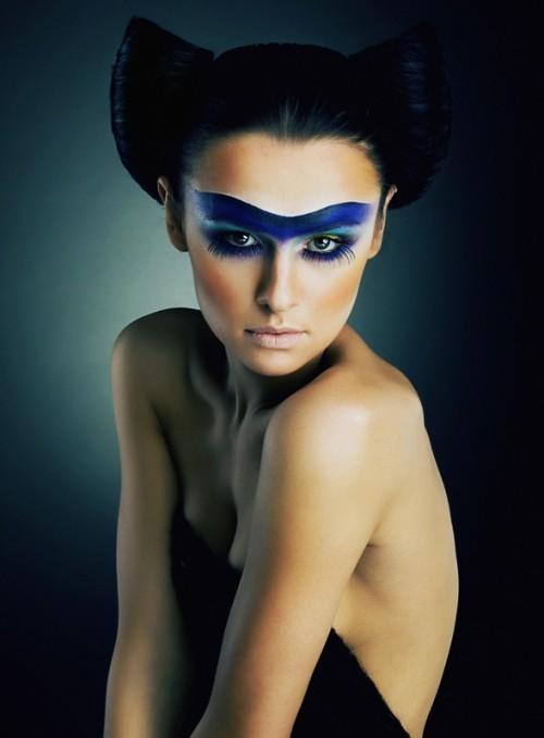 makijaż, kobieta, twarz, uroda