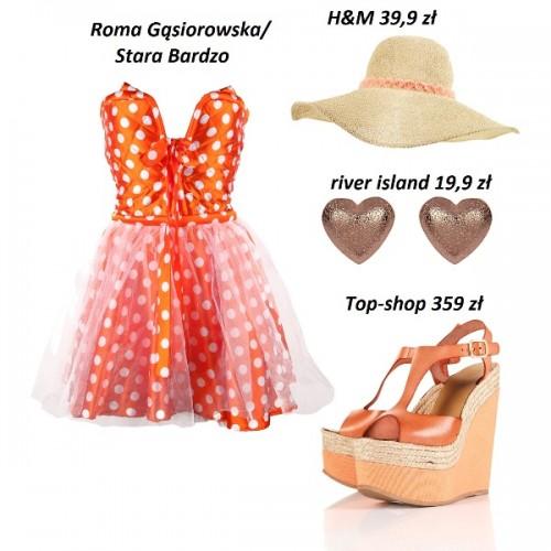 W gorące dni załóż kapelusz, który osłoni Cię przezd słońcem. Do tego świetnie srawdzi się letnia, zwiewna sukienka w mocnym kolorze. Sukienka powinna dominować więc zdecyduj się na dodatki w stonowanych kolorach : beżu, brązu, bieli.