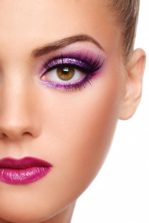 makijaż, fiolet, kobieta, twarz