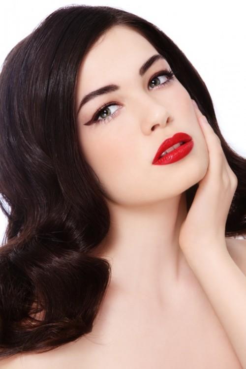 makijaż, retro, kobieta, fryzjer