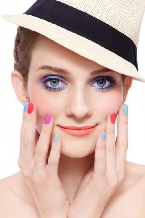 paznokcie, kobieta, makijaż, manicure