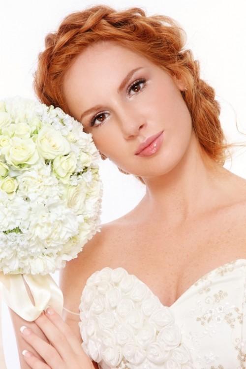 kobieta, twarz, makijaż, ślub, ruda, fryzjer