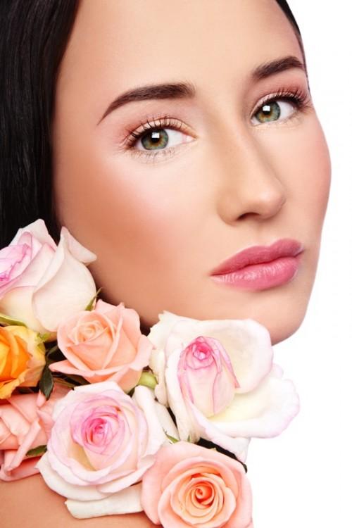 kobieta, makijaż, ślub, kwiaty