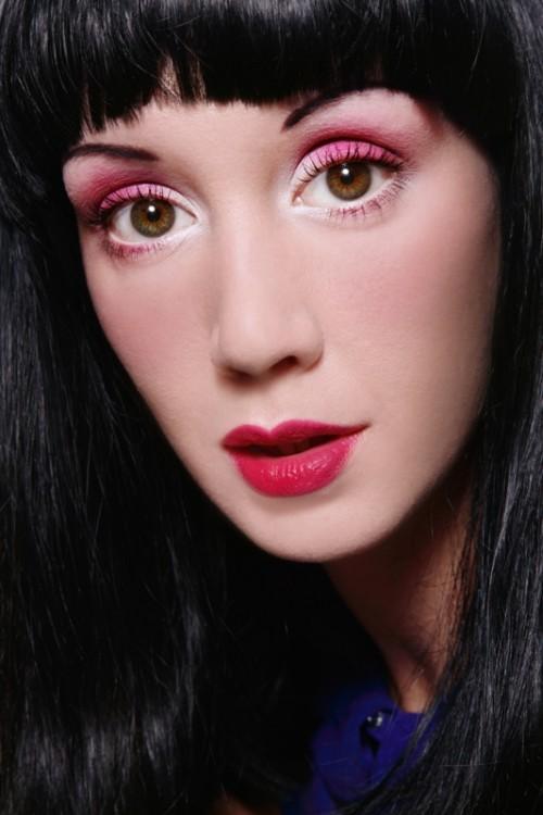 kobieta, twarz, makijaż