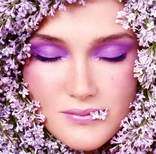 makijaż, kwiaty, twarz, kobieta