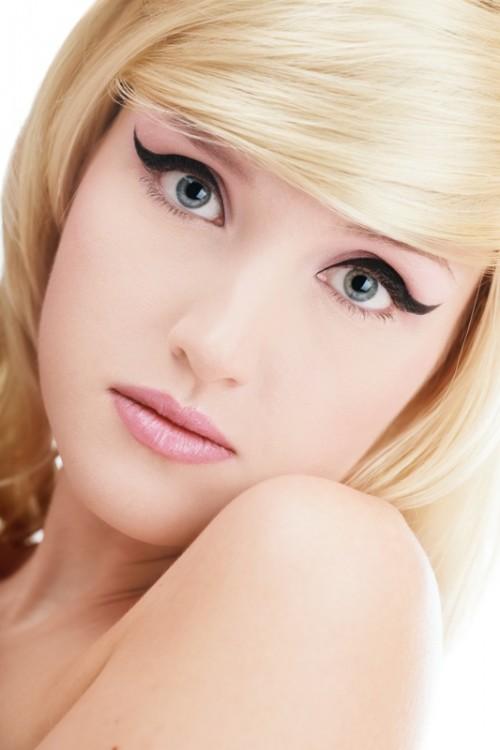 kreska, kobieta, makijaż, twarz