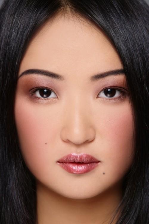 fioletowy cień, kobieta, makijaż, twarz
