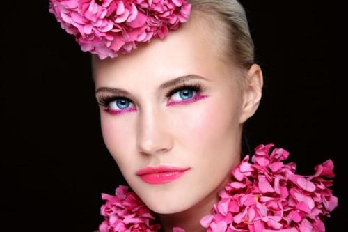 kobieta, makijaż, twarz, kwiaty