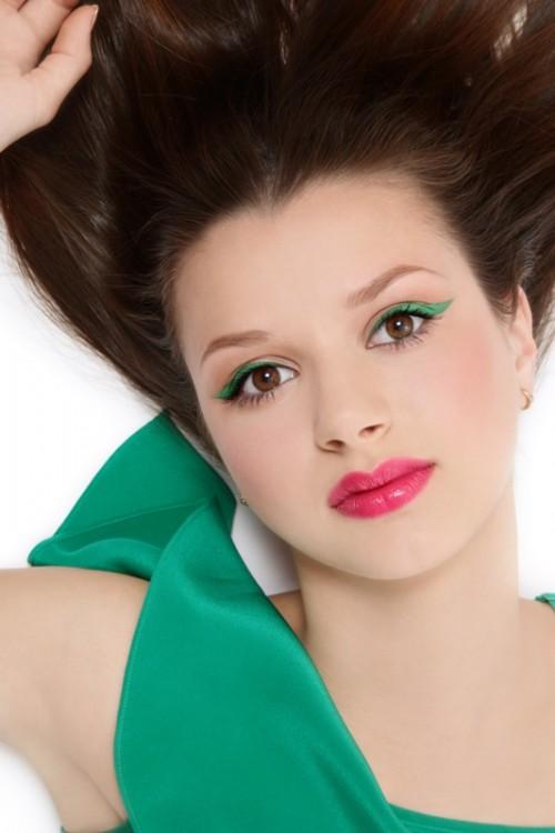 kobieta, twarz, zielony, makijaż