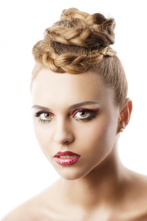 fryzjer, lato, ślub, kobieta, makijaż