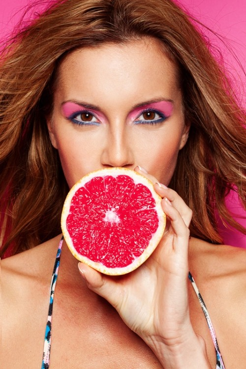 makijaż, kobieta, grejpfrut