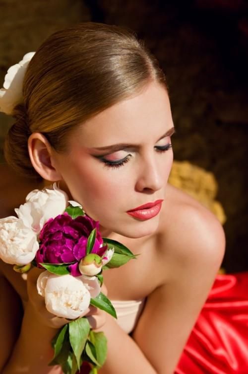 makijaż, ślub, kobieta, piwonie, fryzjer
