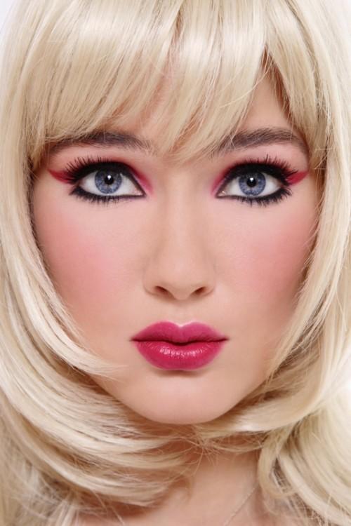 makijaż, kreska, kobieta, twarz, włosy