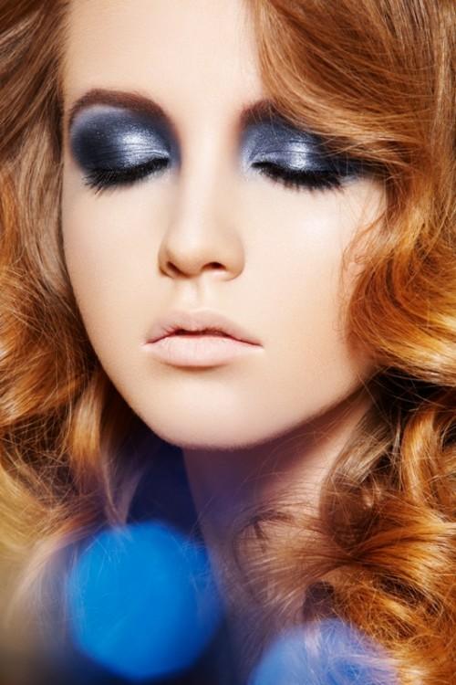makijaż, kobieta, twarz, granat