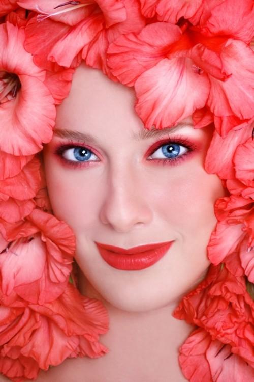 makijaż, kobieta, twarz, kwiaty