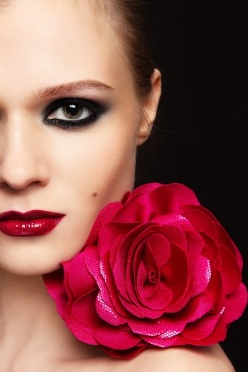 makijaż, kwiat, twarz, kobieta