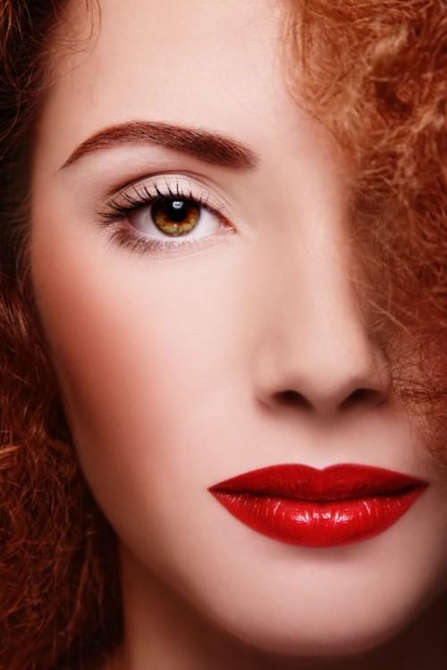 makijaż, retro, kobieta, twarz, usta