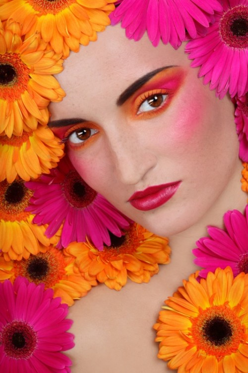 kobieta, twarz, makijaż, kwiaty
