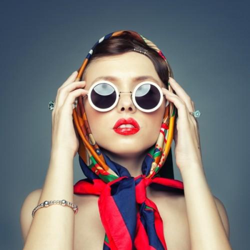 chusta, kobieta, moda, okulary