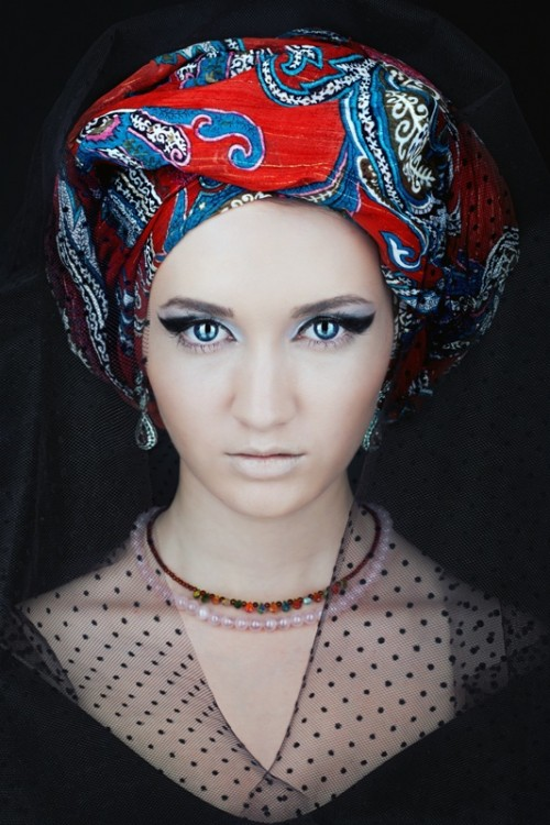 chusta, moda, kobieta, twarz