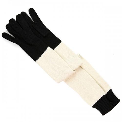 Czarno-białe, długie rękawiczki. House, 27 zł