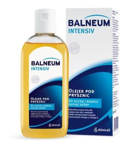 Olejek pod prysznic  do suchej i bardzo suchej skóry z olejem sojowym i olejem z awokado. Balneum Intesiv, okolo 28 zł