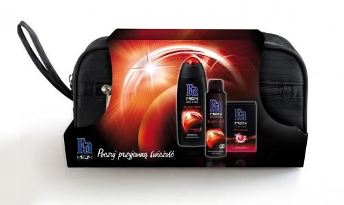 Zestaw świąteczny Fa Men Black Sun, Schwarzkopf & Henkel, rekomendowana cena detaliczna z kosmetyczką ok. 25 zł