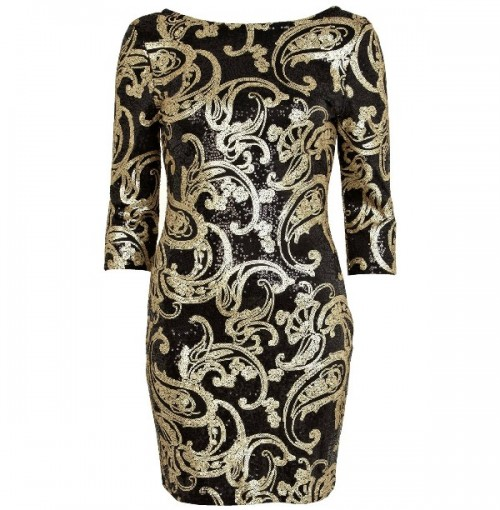Czarno-złota sukienka zdobiona modnymi cekinami i fikuśnymi wzorami. River Island, około 190 zł