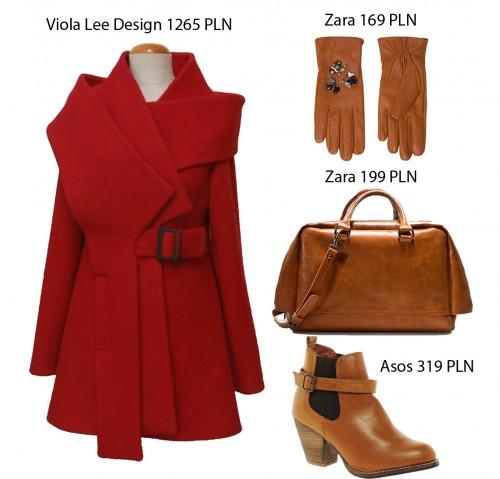 Czerwony płaszcz - stylizacje