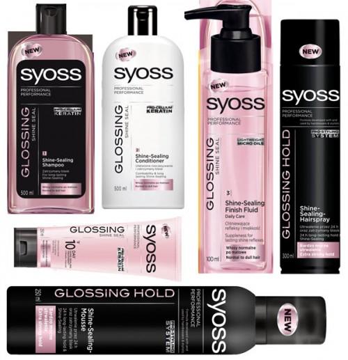 Kosmetyki do pielęgnacji i stylizacji włosów z linii SYOSS Glossing, ceny od 16 do 20 zł