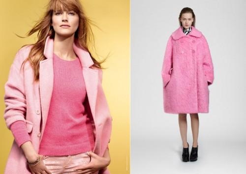Różowe płaszcze z kolekcji jesień-zima 2013/2014 1) Camaieu 2) Carven