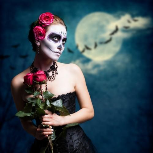halloween, przebrania, trup, kobieta