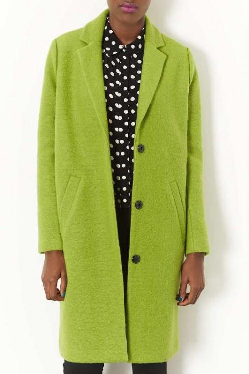 """Wełniany płaszcz typu """"boyfriend"""" o fasonie oversize'owym i kolorze jasnozielonym, Topshop, topshop.com"""