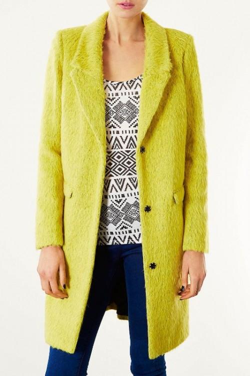 Puszysty płaszcz Topshop w kolorze limonkowym, topshop.com
