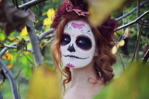 halloween, cukrowa czaszka, makijaż