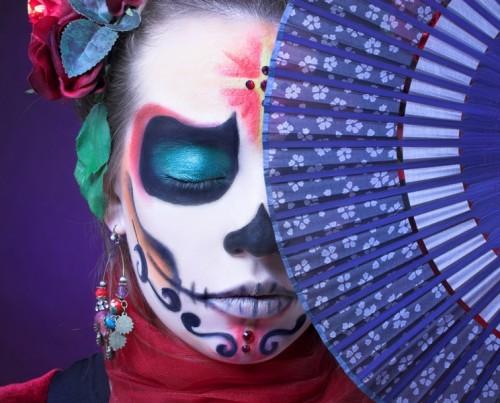 makijaż, cukrowa czaszka, halloween