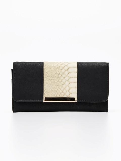 Czarno-beżowy portfel z motywem zwierzęcym, Reserved, cena: 49, 99 zł
