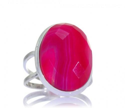 Pierścionek z dużym różowym oczkiem, Kuźnia Srebra, cena: 84 zł