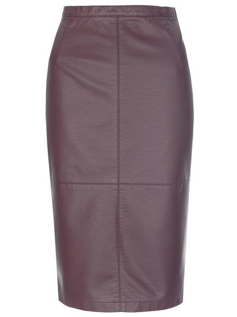 Bordowa spódnica midi ze sztucznej skóry, Top Secret, cena: 99, 99 zł