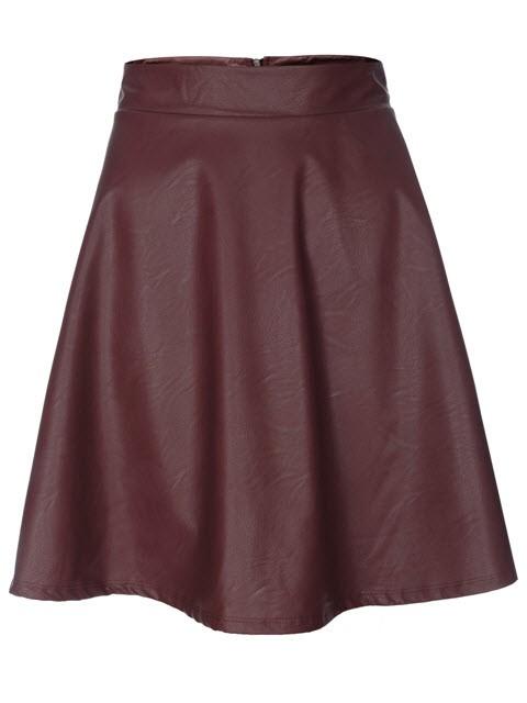 Bordowa, rozkloszowana spódnica ze sztucznej skóry, Top Secret, cena: 79,99 zł