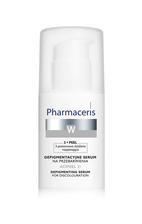 Depigmentacyjne serum na przebarwienia – ACIPEEL 3x  na noc, polecane jest do cery wrażliwej i problemowej, z nierówną pigmentacja (plamy posłoneczne, ostuda, plamy starcze, przebarwienia potrądzikowe, pociążowe, pozapalne), niezależnie od wieku, Pharmaceris, cena: 42,90 zł/30 ml